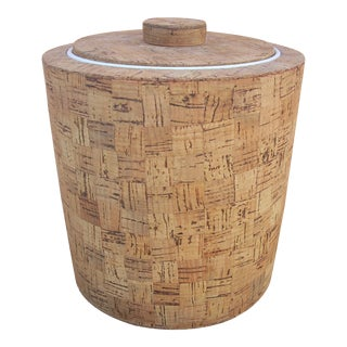 Mid-Century Cork Lidded Ice Bucket