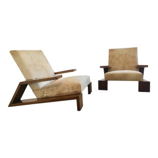 Animal Hide Upholstered Club Chairs - A Pair