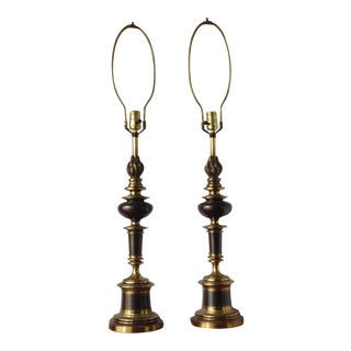 Vintage Bronze & Brass Table Lamps - A Pair