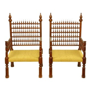 Pair Grand Moroccan Inspired Teak Open Fretwork & Rush Arm Chairs