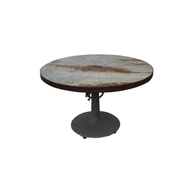 Industrial Crank Table With Zinc Top - Image 1 of 8