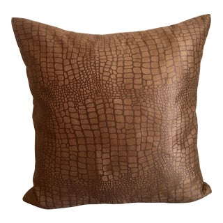 Chocolate Suede Alligator Pattern Pillow