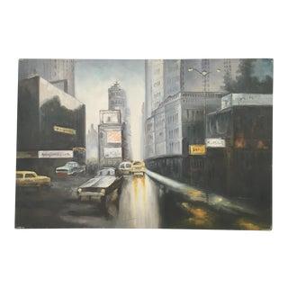 Vintage New York Time Square Street Scene Original Oil on Canvas