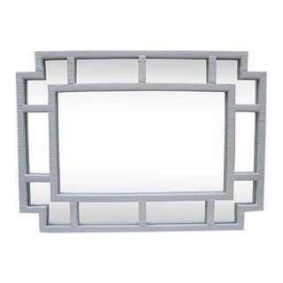 Contemporary White Rattan Mirror