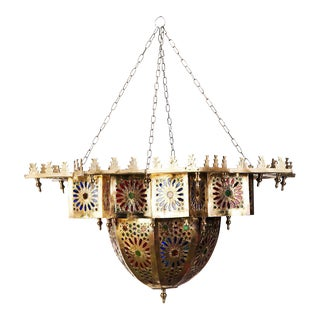 Moroccan Brass Chandelier With Multicolor Glass
