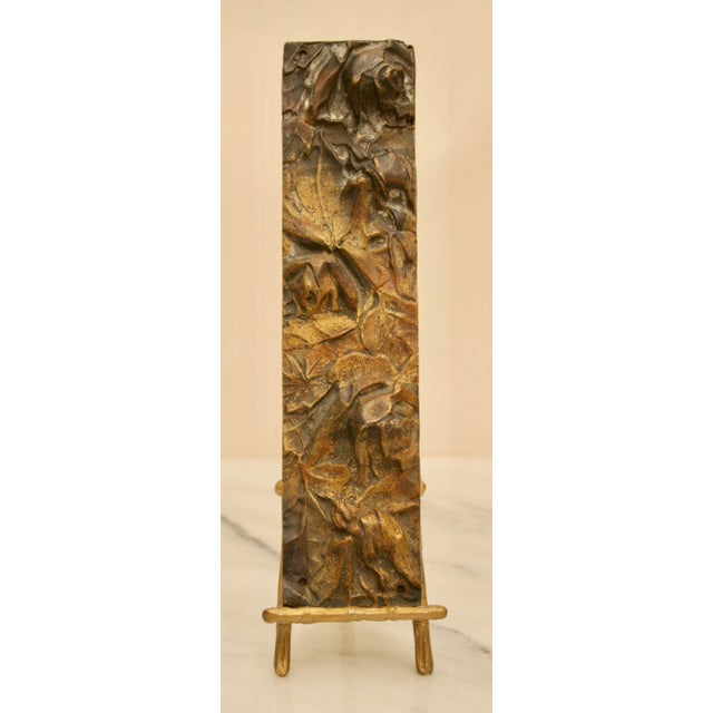 Bronze Abstract Panel on Faux Bamboo Easel - Image 7 of 8