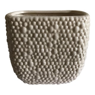 Textured White Pottery Plant Vessel
