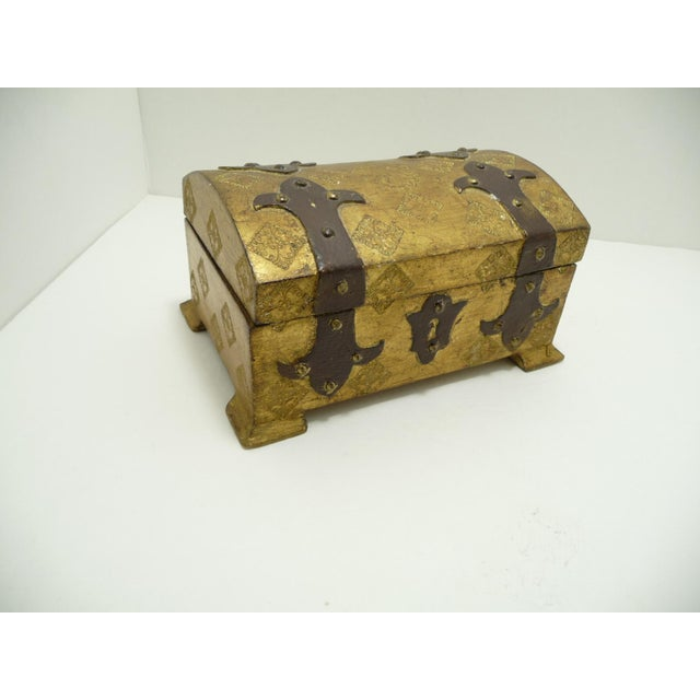 Vintage Wood Gold Gilt Florentine Dome Top Trunk Keepsake Box Italy - Image 2 of 7
