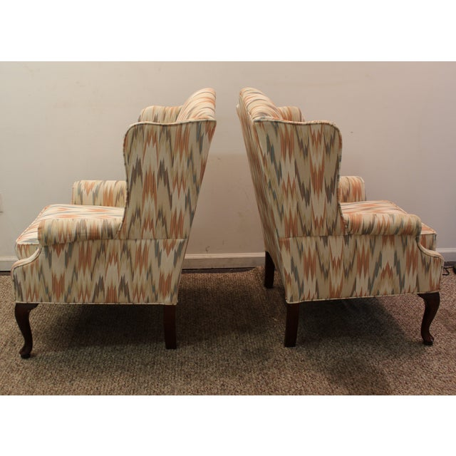 Queen Anne Fireside Wing Chairs by Rowe - Pair - Image 6 of 11