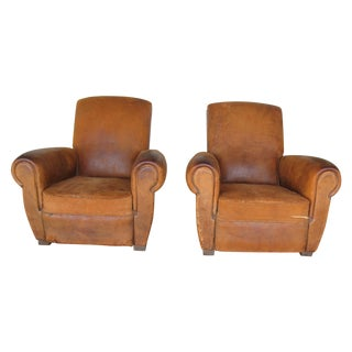 1930's French Leather Club Chairs - A Pair