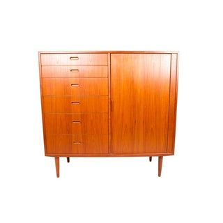 Falster Danish Modern Teak Tall Tambour Chest