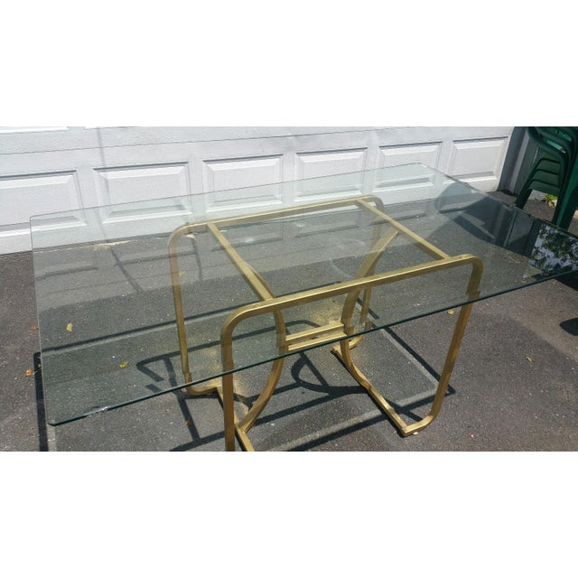 Gold Base & Glass Top Neo Deco Dining Table - Image 4 of 6
