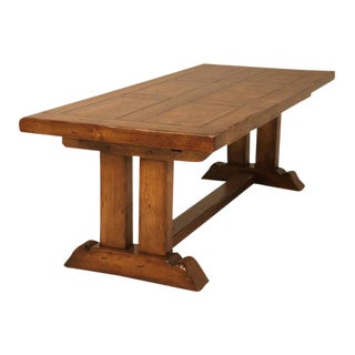 French Oak Trestle Dining Table With Two Leaves