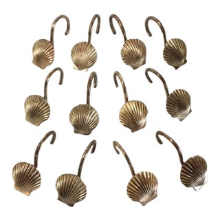 Vintage Brass Seashell Shower Curtain Hooks - Set of 12