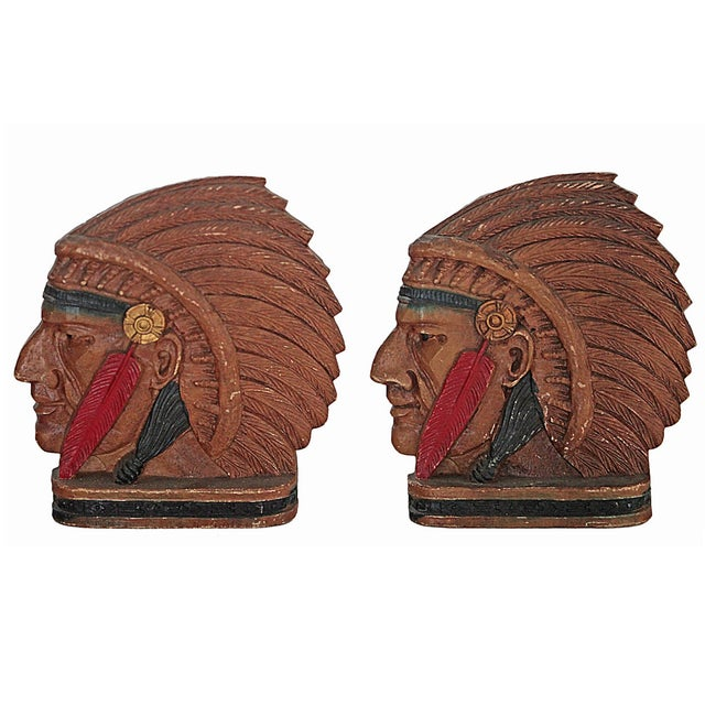 Vintage Native American Chief Bookends - Image 2 of 4