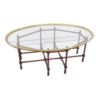 Faux Bamboo Brass Tray Top Coffee Table