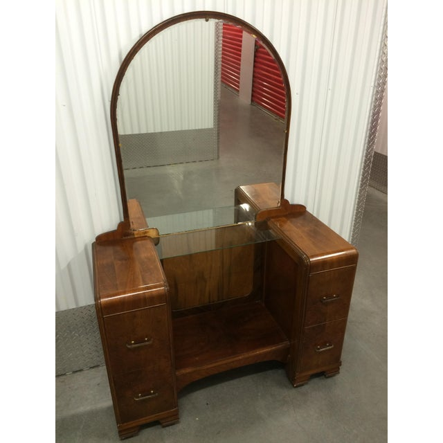 1930's Waterfall Vanity With Mirror & Stool - Image 3 of 9