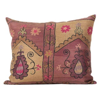 Vintage Bohemian Silk & Cotton Embroidered Pillow