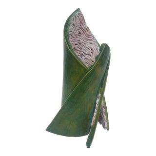 Sculptural Signed Organic Green Glaze Decorative Ceramic Vase .