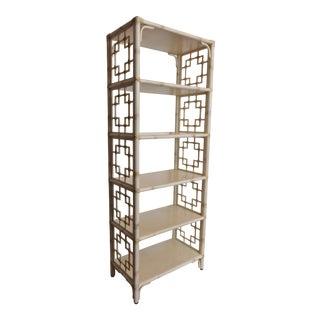 Vintage Chinoiserie Faux Bamboo Étagère Bookcase