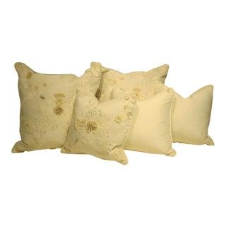 White & Tan Decorative Pillows - Set of 5
