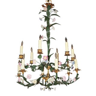 19th Century French Painted Bronze Chandelier