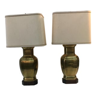 Brass Lamps with Wood Base - A Pair