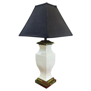 Vintage White Ceramic Lamp on Brass Base