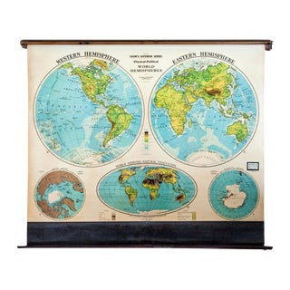 Vintage Cram's Pull Down Map of World Hemispheres