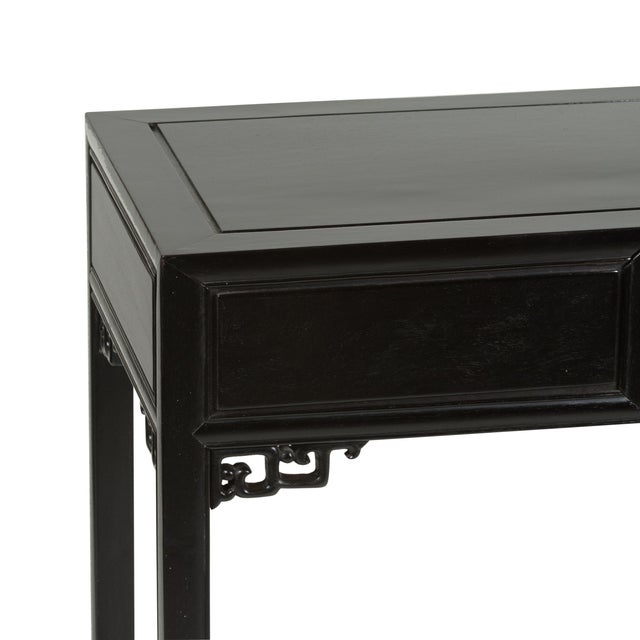 1960s Black Lacquered Chinese Fretwork Desk - Image 6 of 10