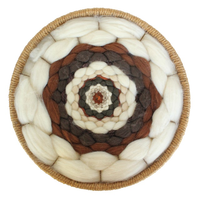 Round Boho Fiber Wall Hanging in Wool and Jute - Image 1 of 4