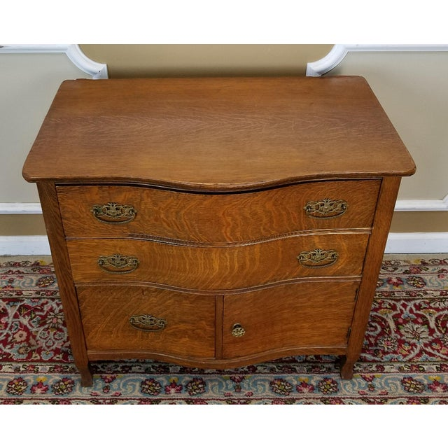 Image of Antique Victorian Quartered Oak Wash Stand Chest C1900