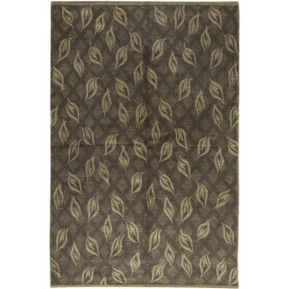 Contemporary Green Leaf Design Hand Woven Rug - 5'7 X 8'5