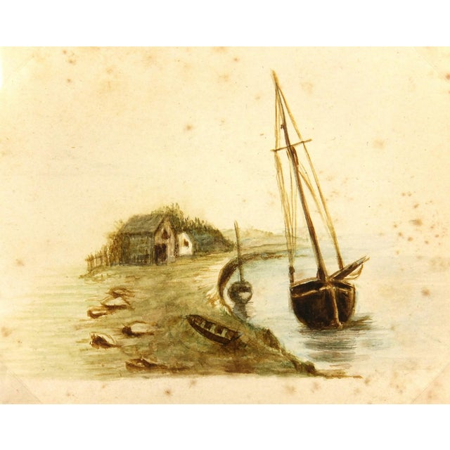 Antique Watercolor Painting Shoreside, Circa 1900 - Image 1 of 3