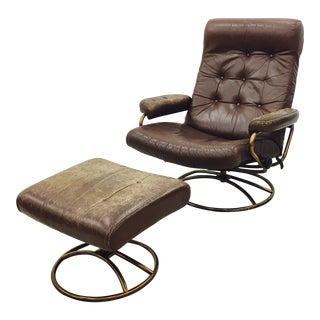 Vintage Mid Century Modern Ekornes Chair & Ottoman