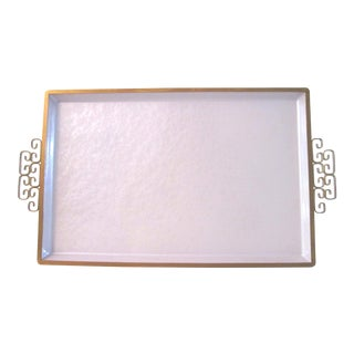 Mid-Century Modern Pearlescent White Kyes Moiré Tray