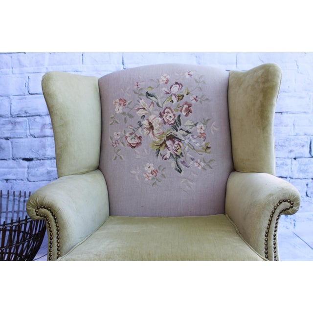 Huge Antique Velvet & Needlepoint Wingback Armchair - Image 8 of 11