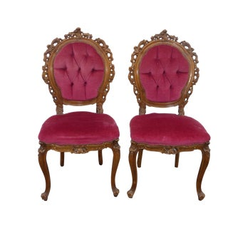 Ornate French Carved Tufted Back Chairs - Pair
