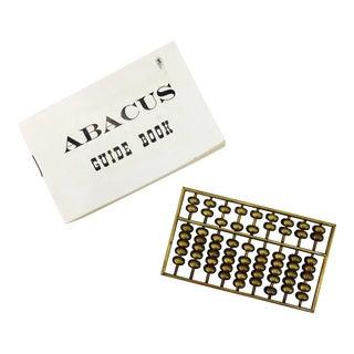 Vintage Brass Abacus & Guidebook - A Pair