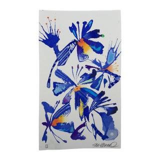 """Steve Klinkel """"Floral Abstract 3"""" Original Watercolor Painting"""