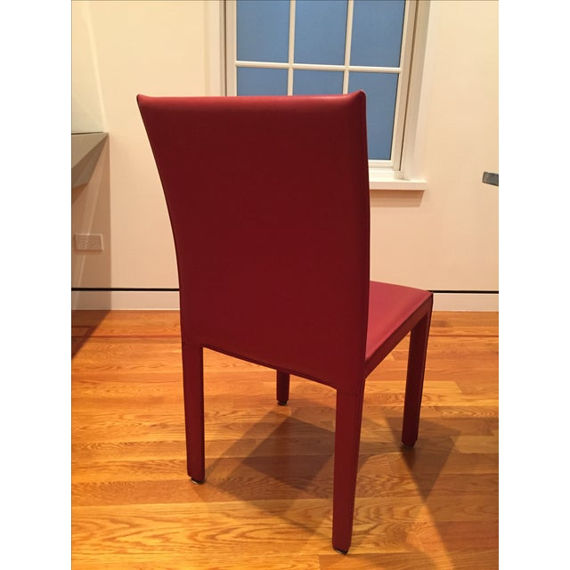 Image of Red Leather Dining Chairs - Set of 10