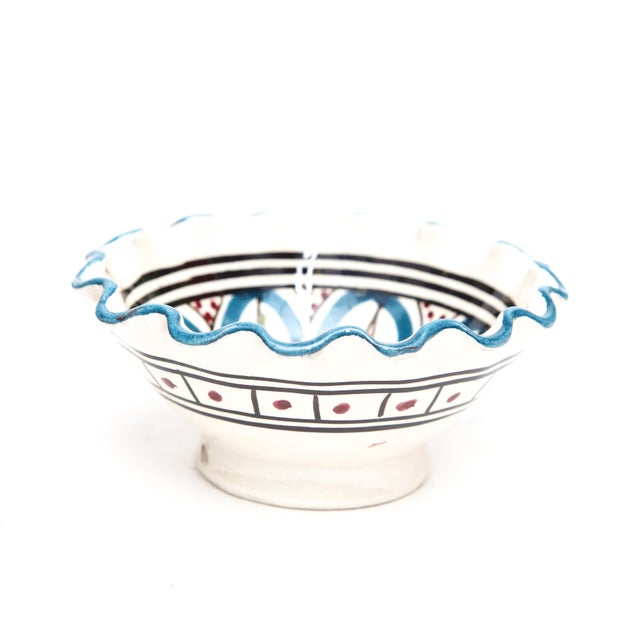 Small Moroccan Hand Painted Turquoise Bowl - Image 2 of 3