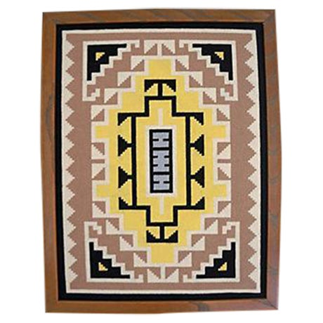 Image of Native American Needle Work Framed Textile