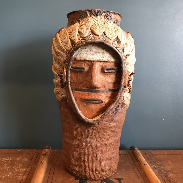 Indian Head Ceramic Vase - Image 4 of 9