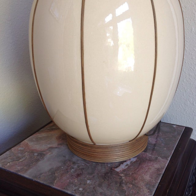 Mid-Century Bamboo Wrapped Porcelain Lamp - Image 4 of 5