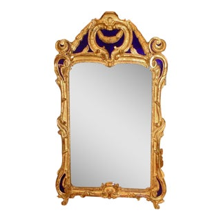 Period 18th Century Baroque Giltwood Mirror with Cobalt Glass