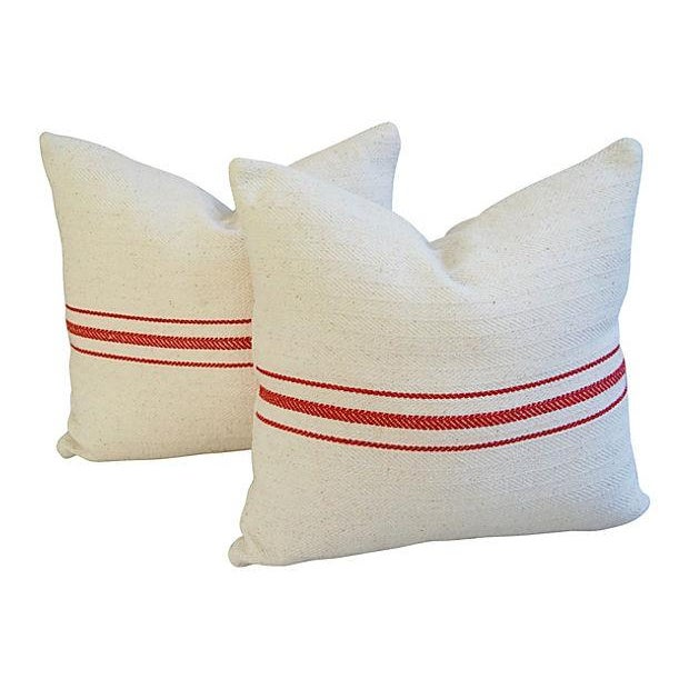 Custom French Red Striped Textile Pillows - A Pair - Image 1 of 6