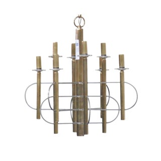 Parzinger Style Brass & Chrome Chandelier