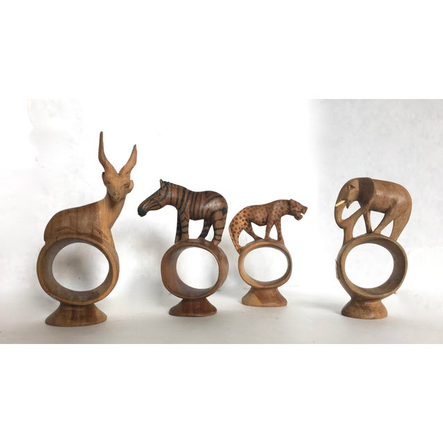 African Hand Carved Animal Napkin Rings- Set of 4 - Image 2 of 6