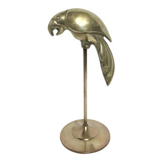 Vintage Brass Parrot on Stand